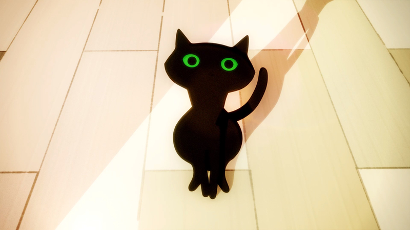 A 3D still of stylish woman bent down looking at a black cat