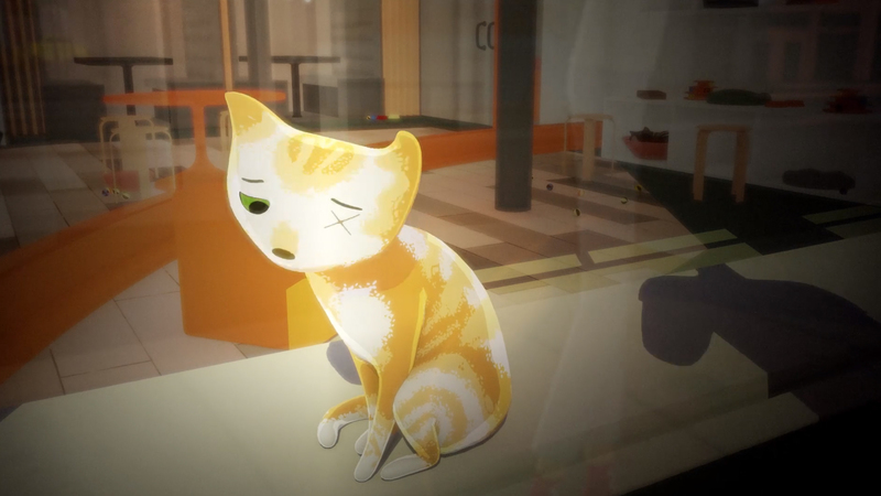 A 3D still of a ginger and white cat sat in a window whilst passers by look down at it