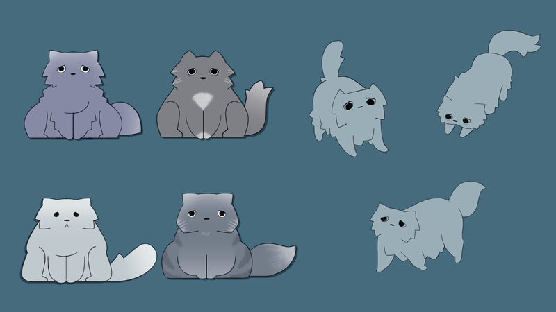 a page of  several character drawings of a senior cat