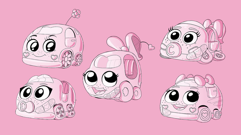 A character sheet of five different pink cars