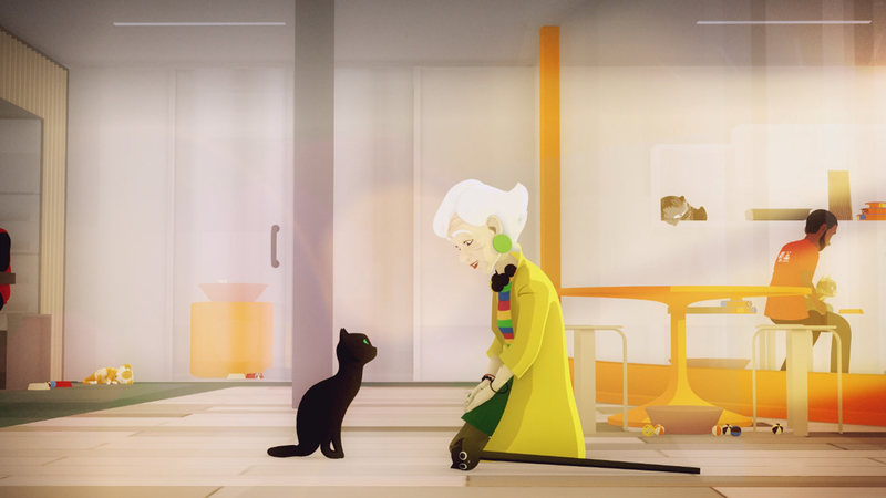 A 3D animation of an older stylish woman crouched before a black cat. They are both looking at each other.