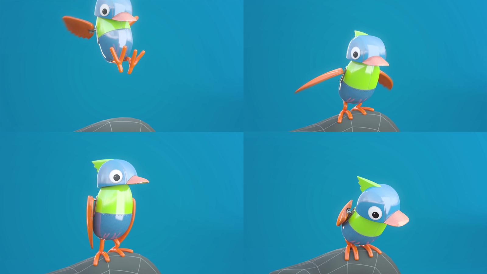 4 frames from the animation Herd & Bird Teaser.