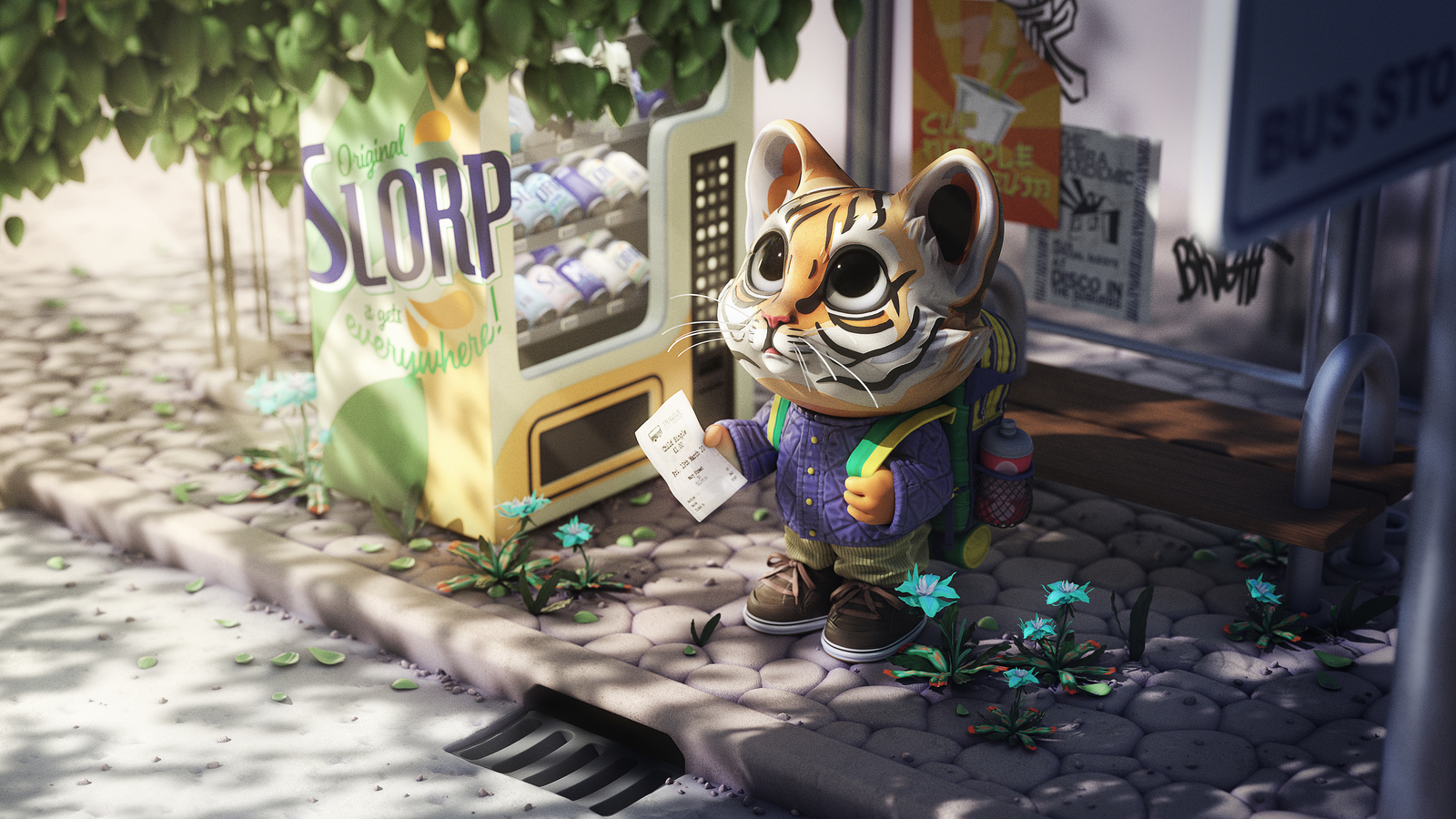 A 3D render of The Tiny Tiger waiting by the bus stop on a sunny day