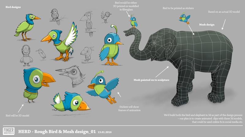 Herd & Bird concept sketch, showing a range of Bird character designs.