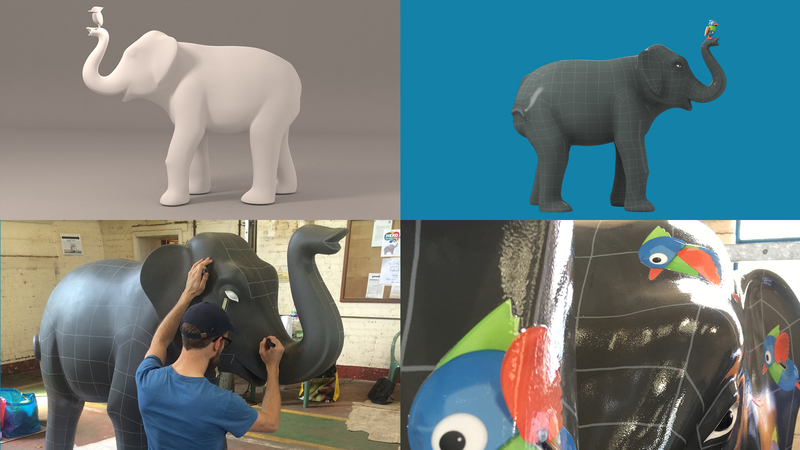 4 frame of the Herd and Bird Elephant, showing a greyscale model, a colour 3D model and the sculpture