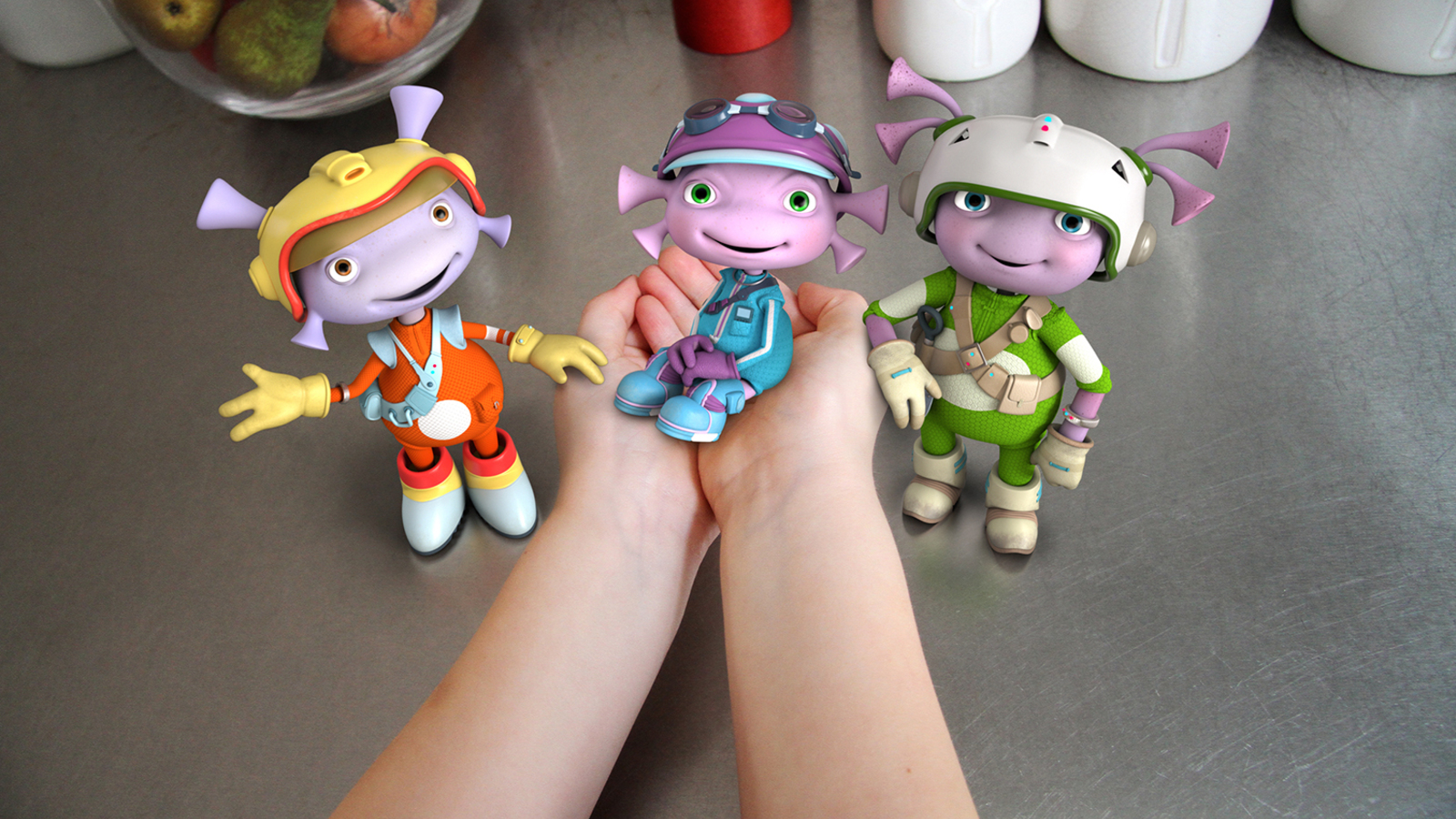 Characters from the Floogals composited into a kitchen scene