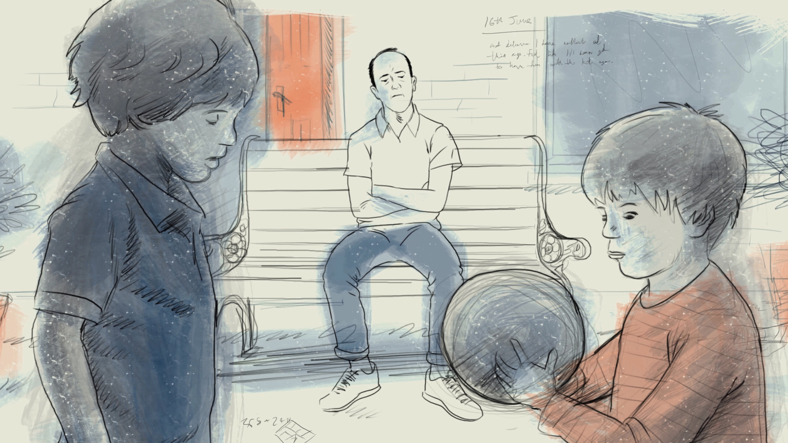 Frame from Steven's Diary animation, in this frame, Steven sits on a bench whilst his sons play football.
