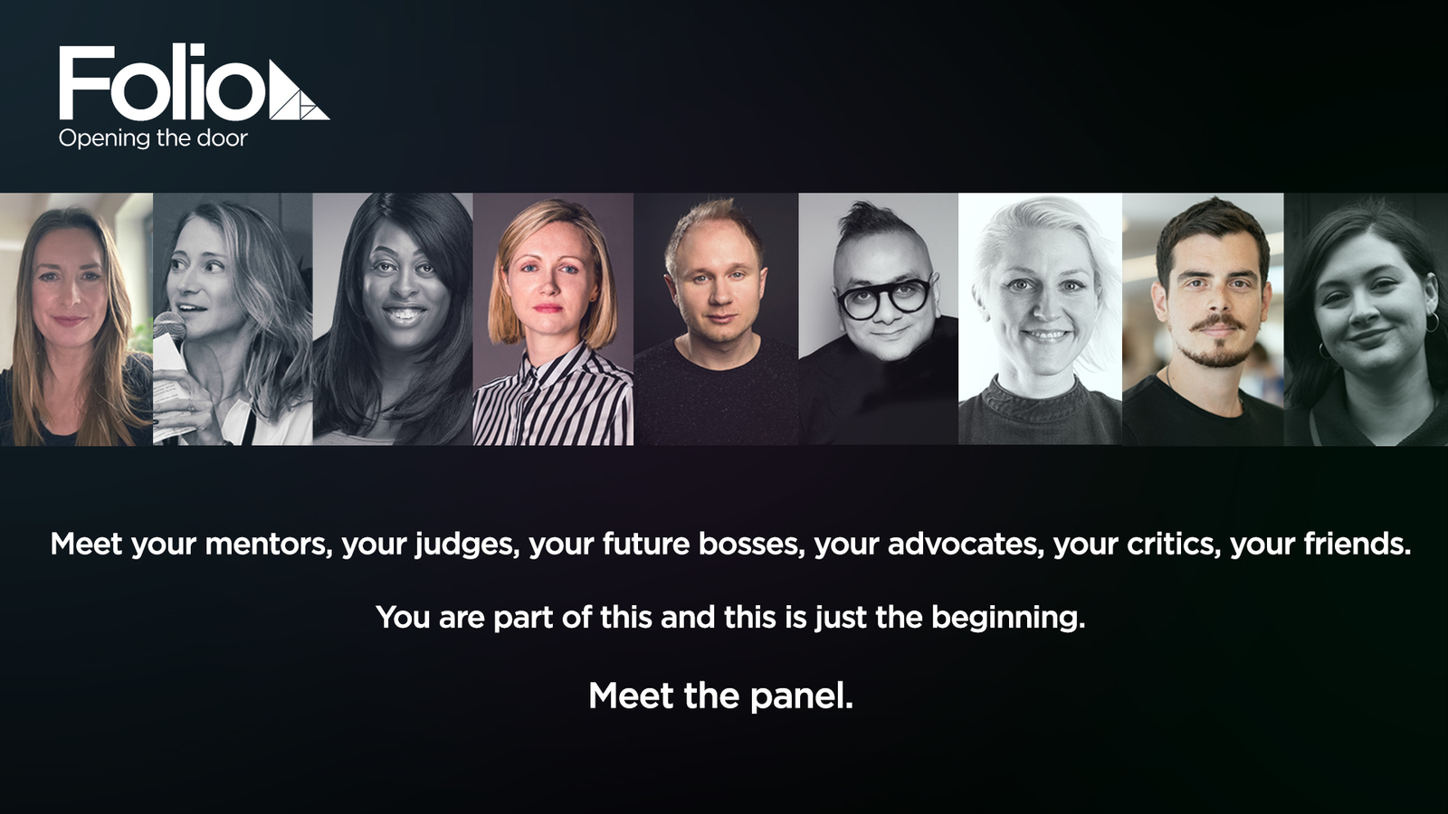 poster showing all the panellists, creative directors in the advertising industry.