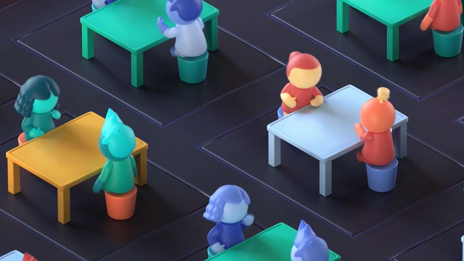 colourful characters sitting across each other, in pairs talking animatedly. The tables are blue, green and yellow. The people are CG, with no facial details and feel like toy characters, with skin colours of blues, greens, reds and hair to match.