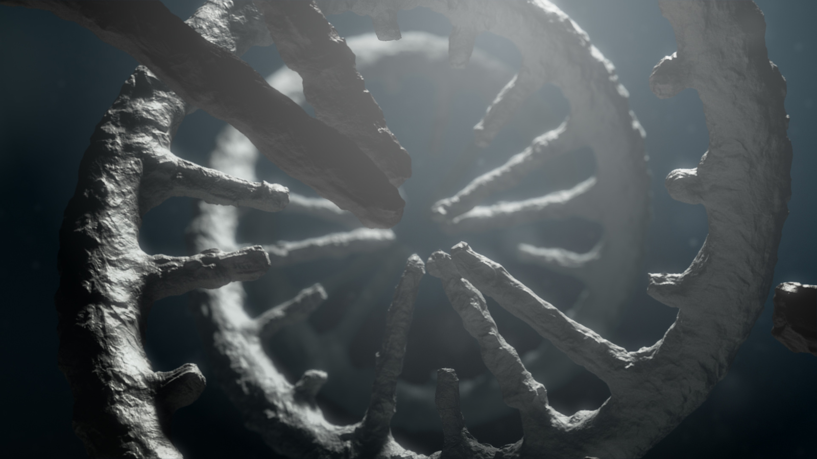 Render of stone like spiral helix structure from healthcare animation