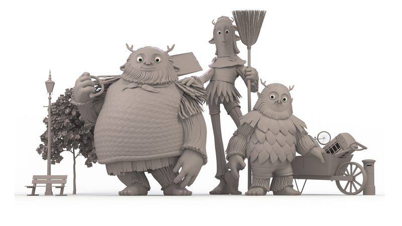 Greyscale render of characters from Lila and the Giants