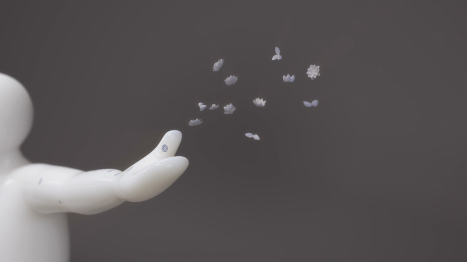 A 3D still of a ceramic character, ceramic flowers are flying out of their hand.