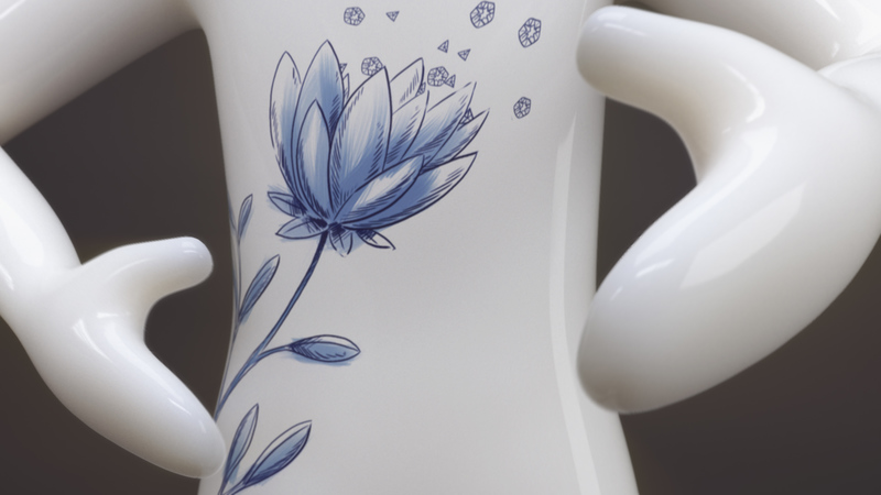 A character made of white ceramic material with blue hand-painted flowers on it, small ceramic flowers are flying from their palm.