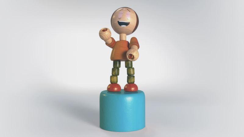 A 3D still of a wooden puppet laughing