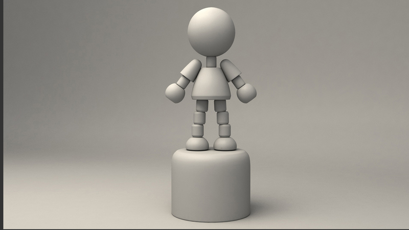 A greyscale of the puppet character from a front angle
