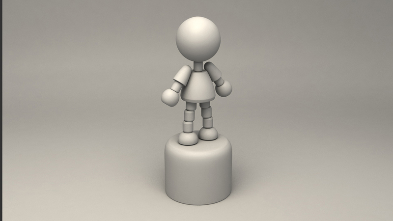 A greyscale of the puppet character from a side angle