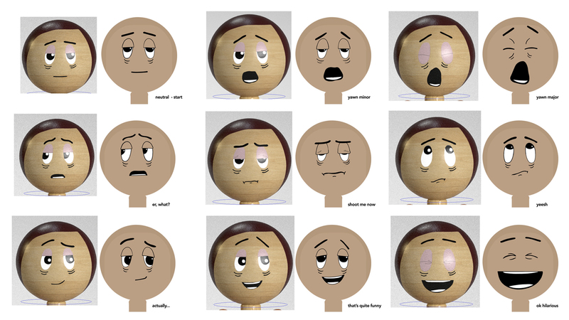 A range of facial expressions drawn in 2D and compositing onto the 2D model.