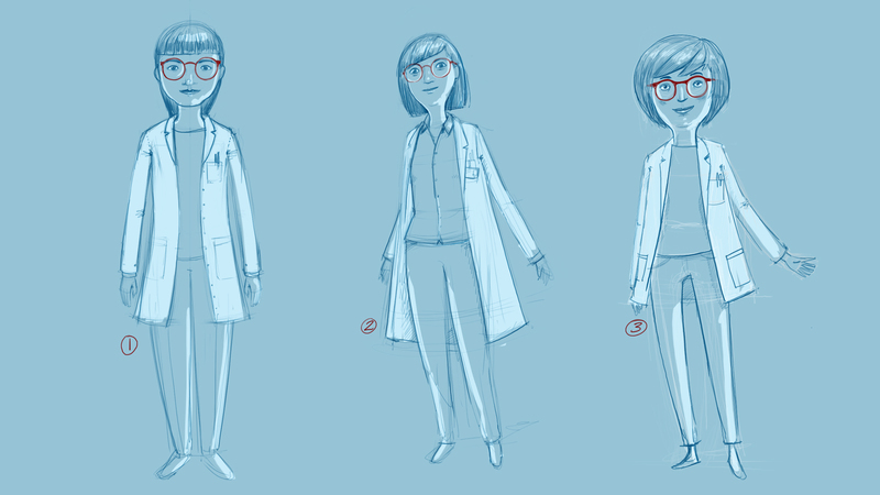 Character rough sketches for contamination animation