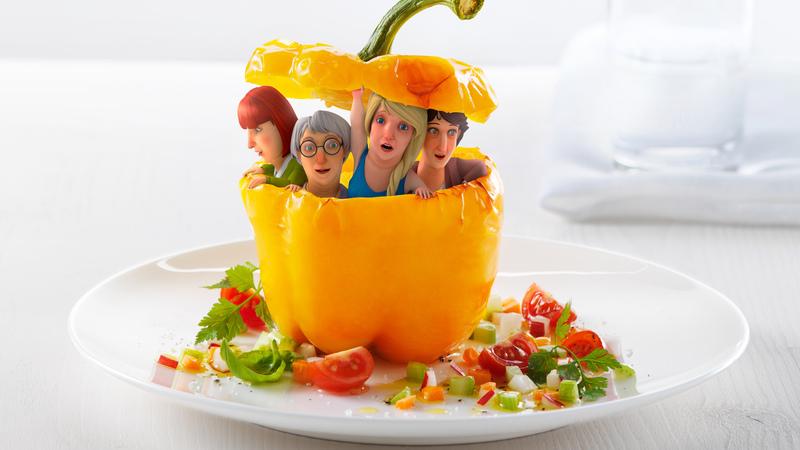 Saison Kuche, close up of Pepper characters
