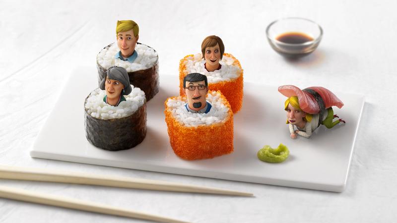 Saison Kuche, close up of Sushi characters