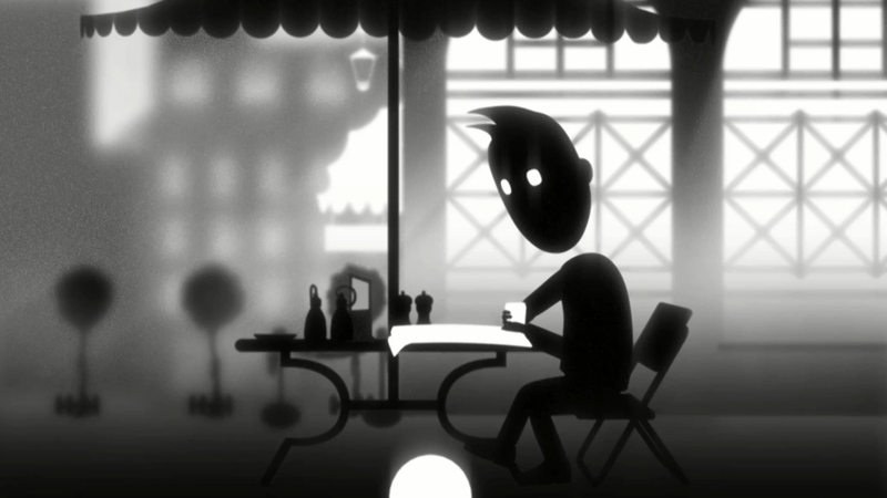 still from the animation The boy I used to know. The boy sat reading paper outside cafe