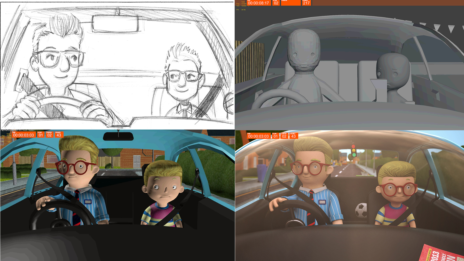 still of 4 frame comparisons - 2d animatic, block animatic, render preview and final animation