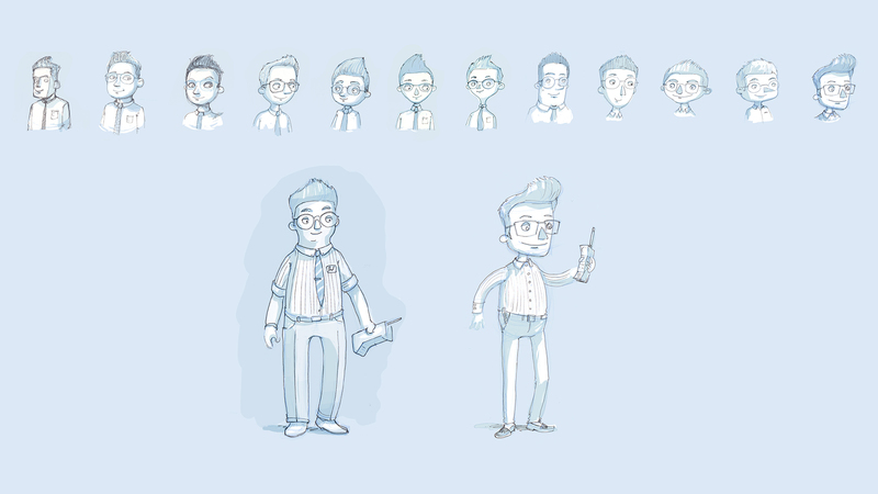 Sketches of character design of 'Martin' Character. Early design process