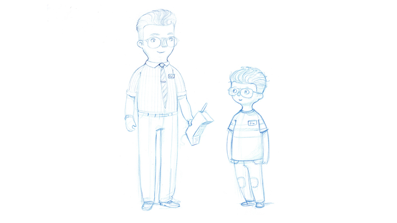 Sketches of refined character design of 'Martin and Jim' Characters. Early design process