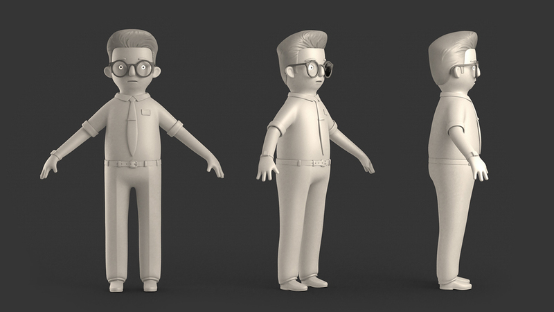Greyscale T Pose of Martin character rendered from front and side angles