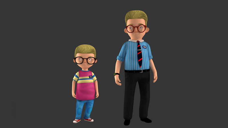 Posed Martin and Jim render in 3d colour