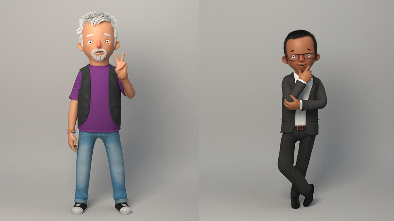 Rendered poses of Colin and Simon