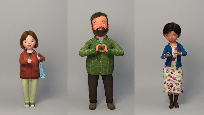 Rendered poses of Valerie, Barry and Tina