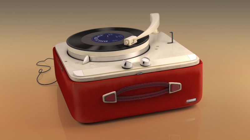 3d still of record player from the animation of the same name