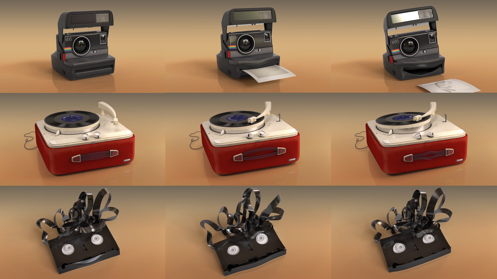 Series of frames from the change is good animations; instant camera, record player, vhs.