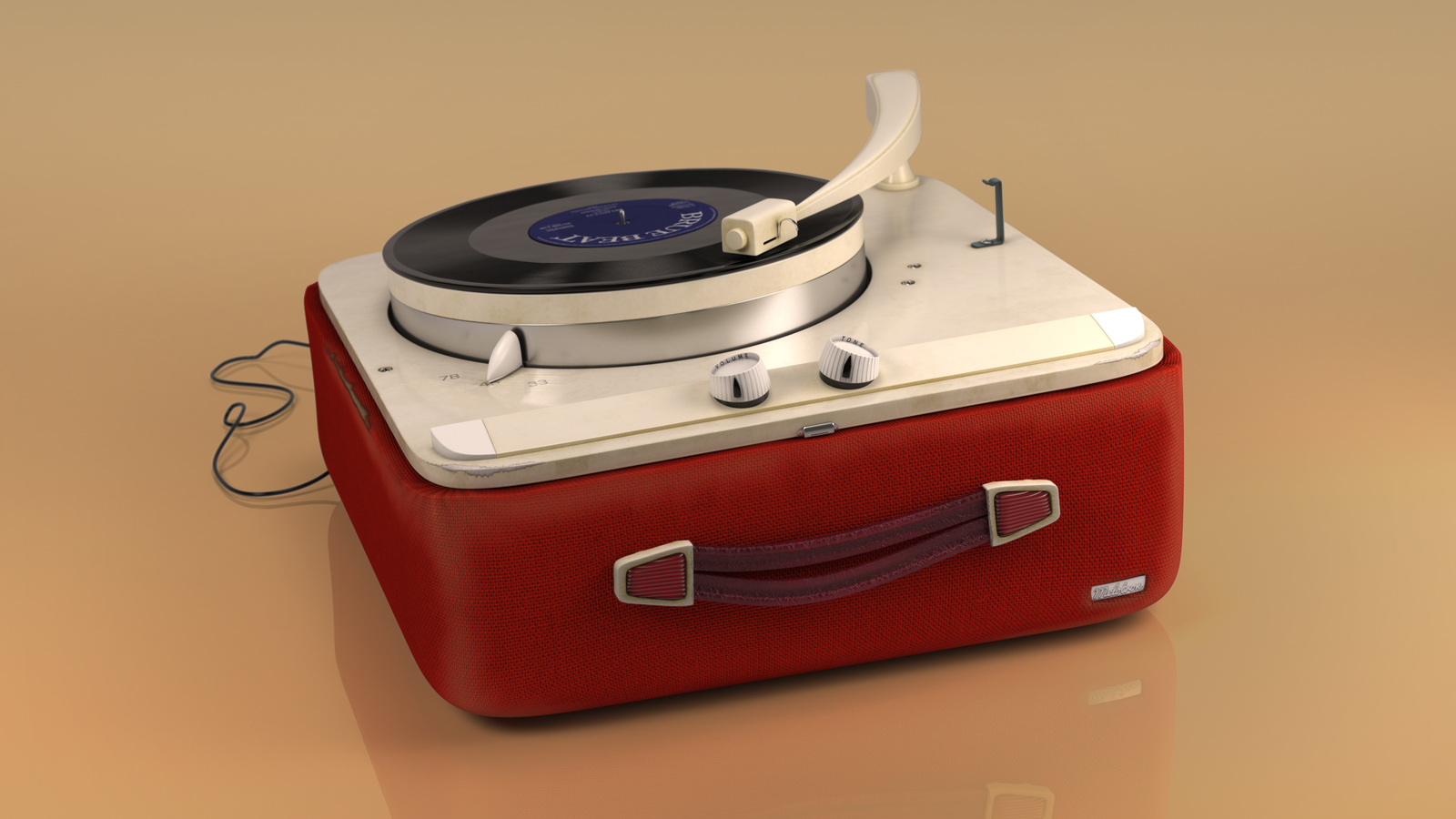 Hi-res still of record player for print campaign