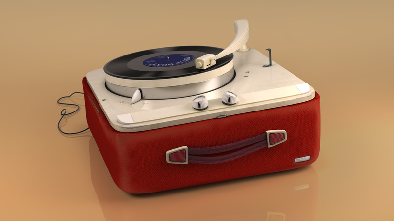 Hi-res 3d still of record player for print campaign