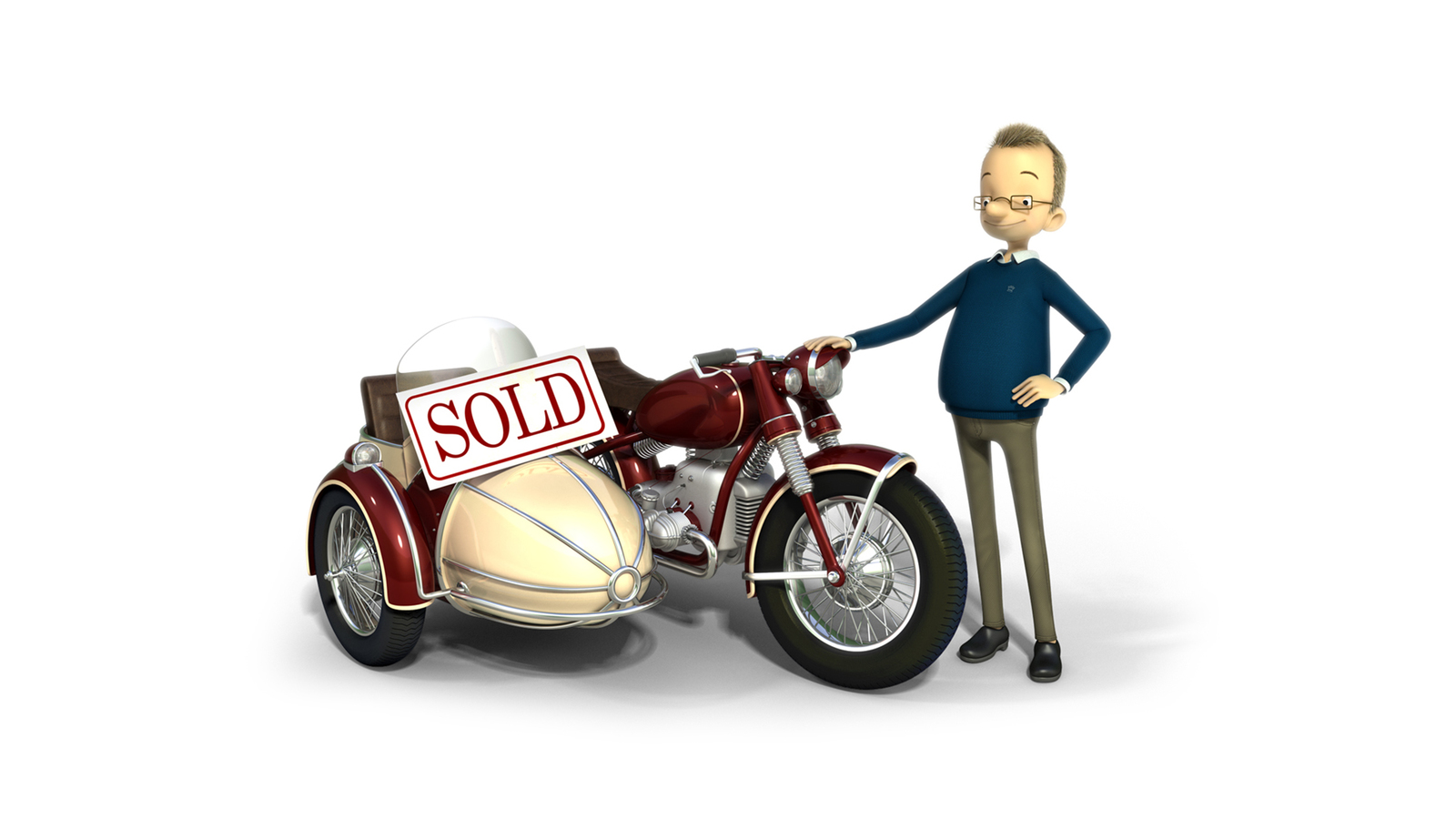 3d illustration of man with motorcycle