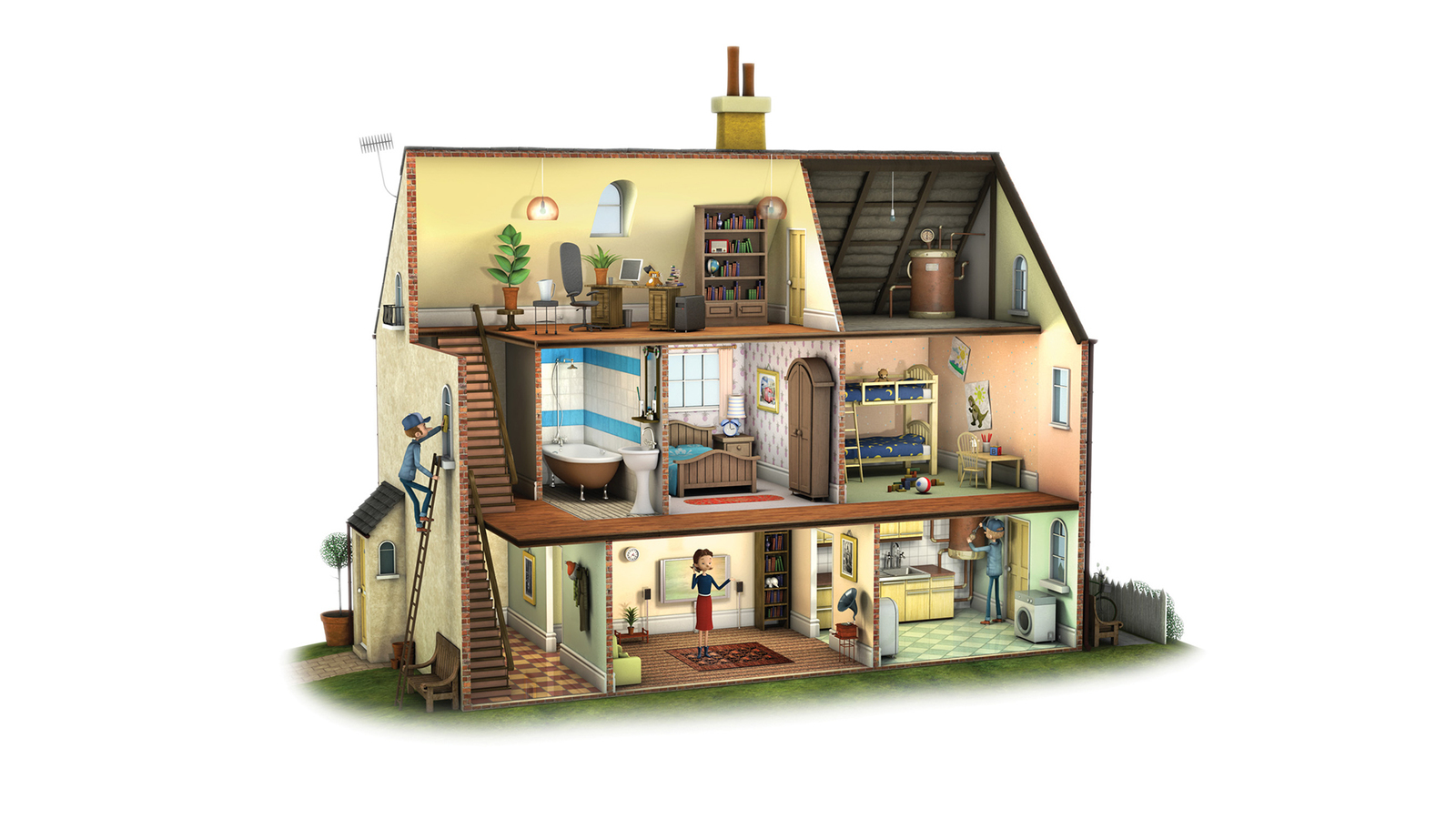 3d illustration of house cut away with people inside