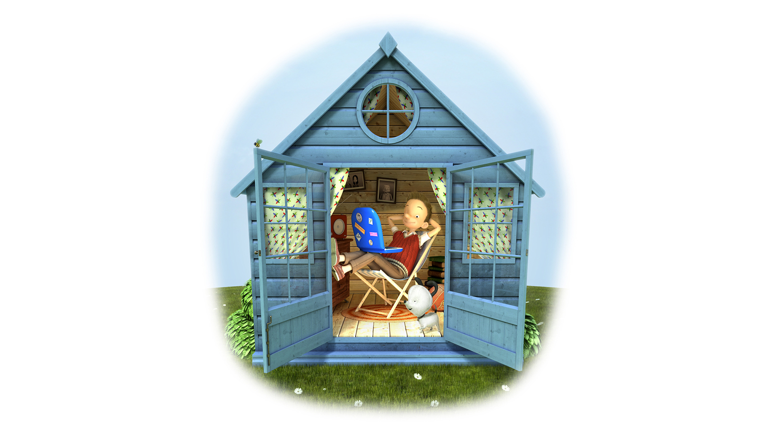 3d illustration of man in shed with laptop and dog