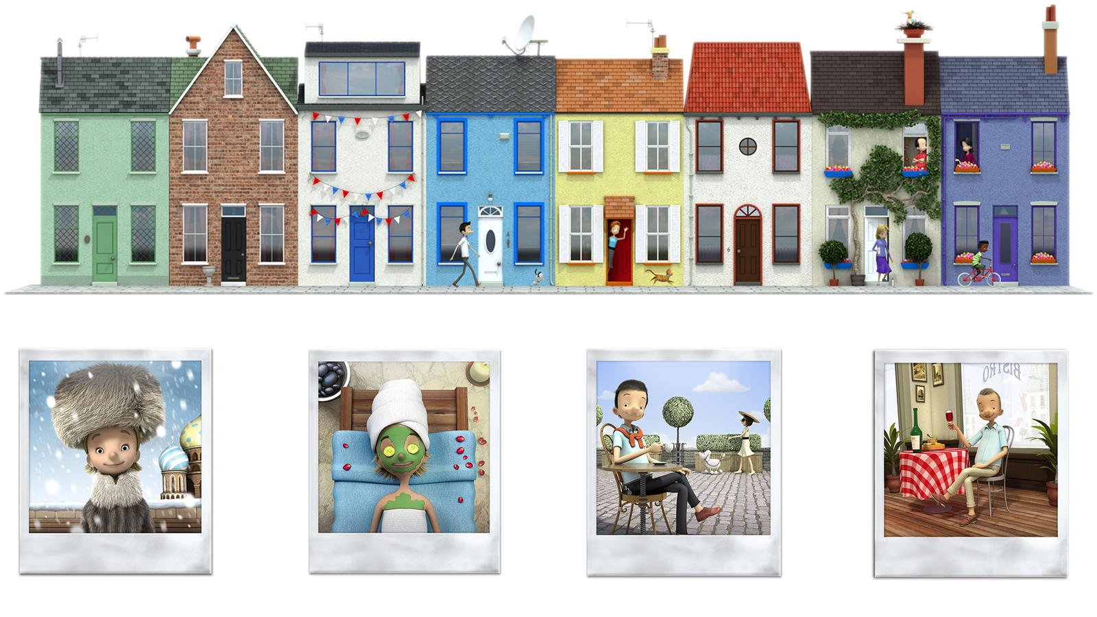 collection of images from the lloyds campaign, including Polaroid pictures of characters and street scene