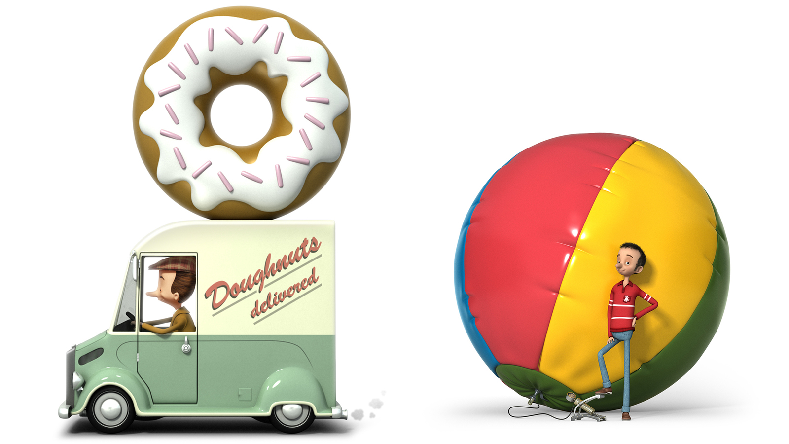 collection of 3d stills from for the journey campaign, doughnut driver and beach ball pumping up by man