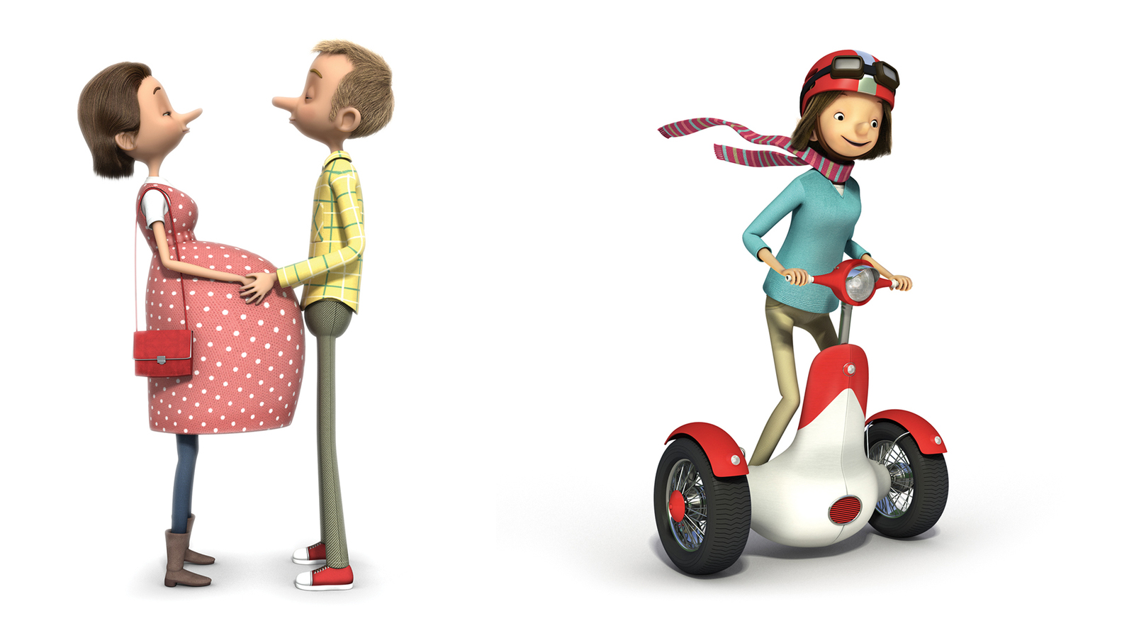 3d illustrations of characters from 'for the journey campaign'