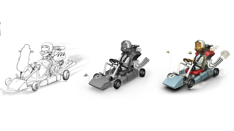 sketch, greyscale and final render of man in go kart