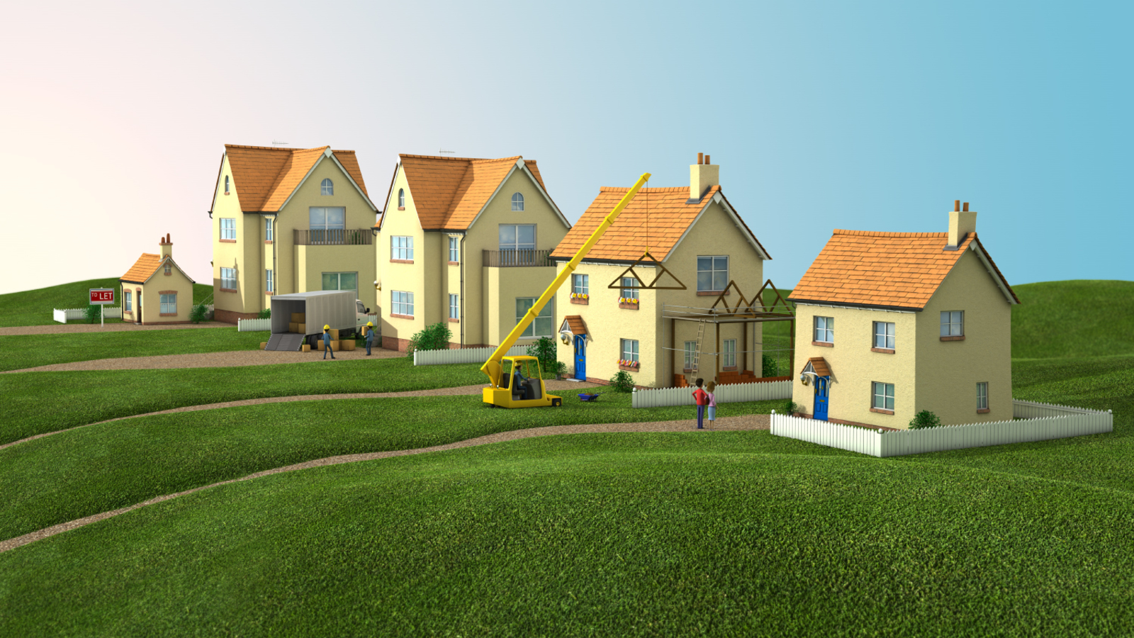 Which houses 3d render