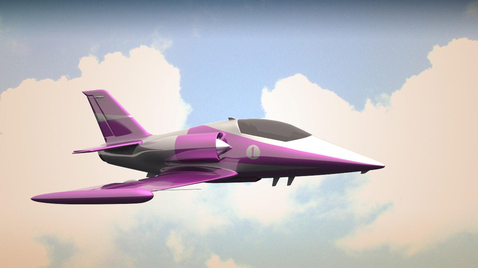 3d render of jet plane in sky