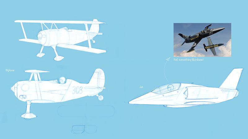 sketches of rough aeroplanes