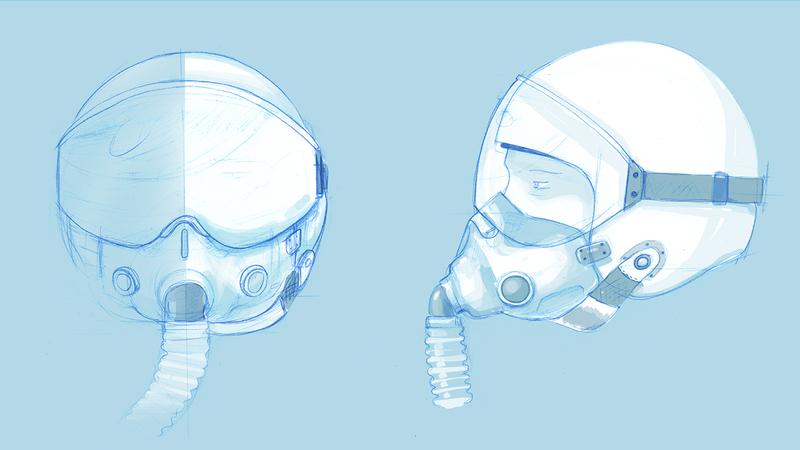 rough sketch of helmets