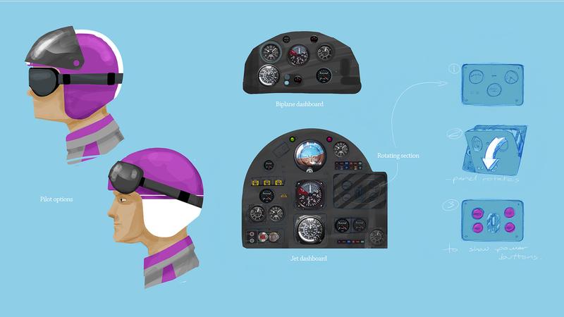 Rough colour sketch of helmet/pilot and cockpit panel
