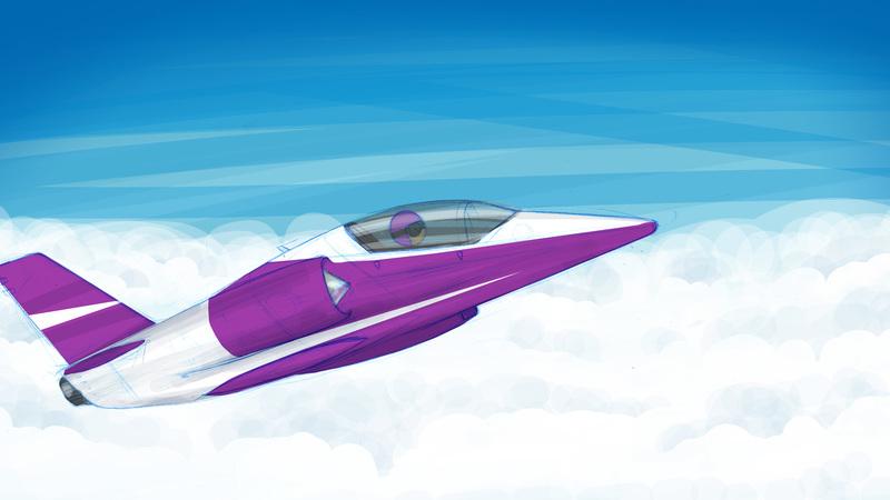 rough colour sketch of jet