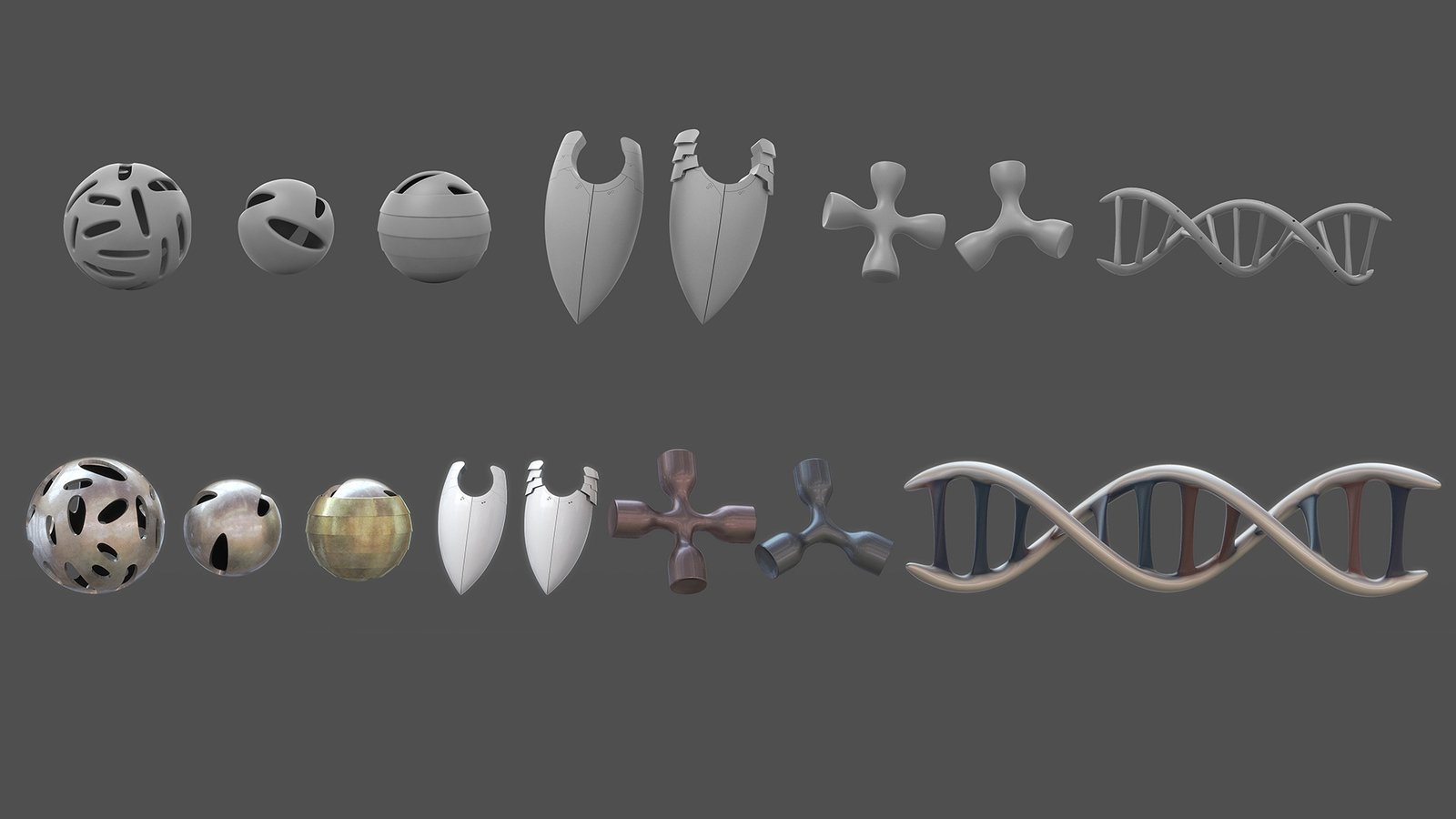 greyscale and colour render of assets